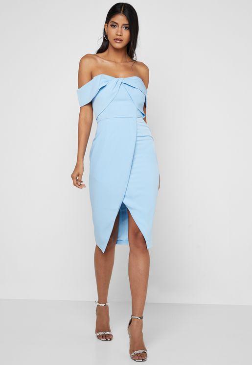 08d5c3c6cd Front Twisted Bardot Wrap Midi Dress