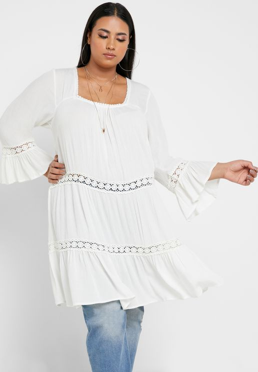Square Neck Tiered Tunic Top