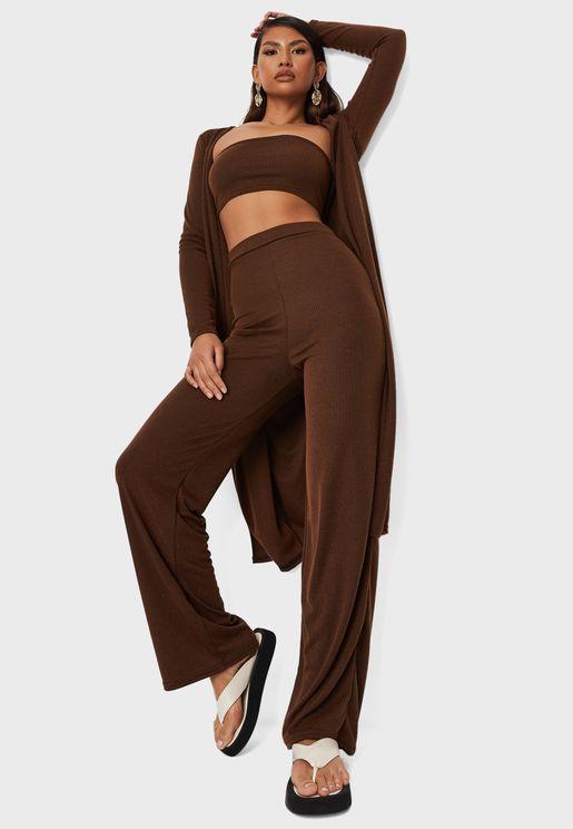 3 Piece Crop Top Cardigan Wide Leg Pants Set