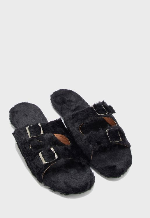 Double Buckle Furry House Slippers