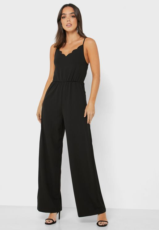 Scallop Trim Cami Jumpsuit