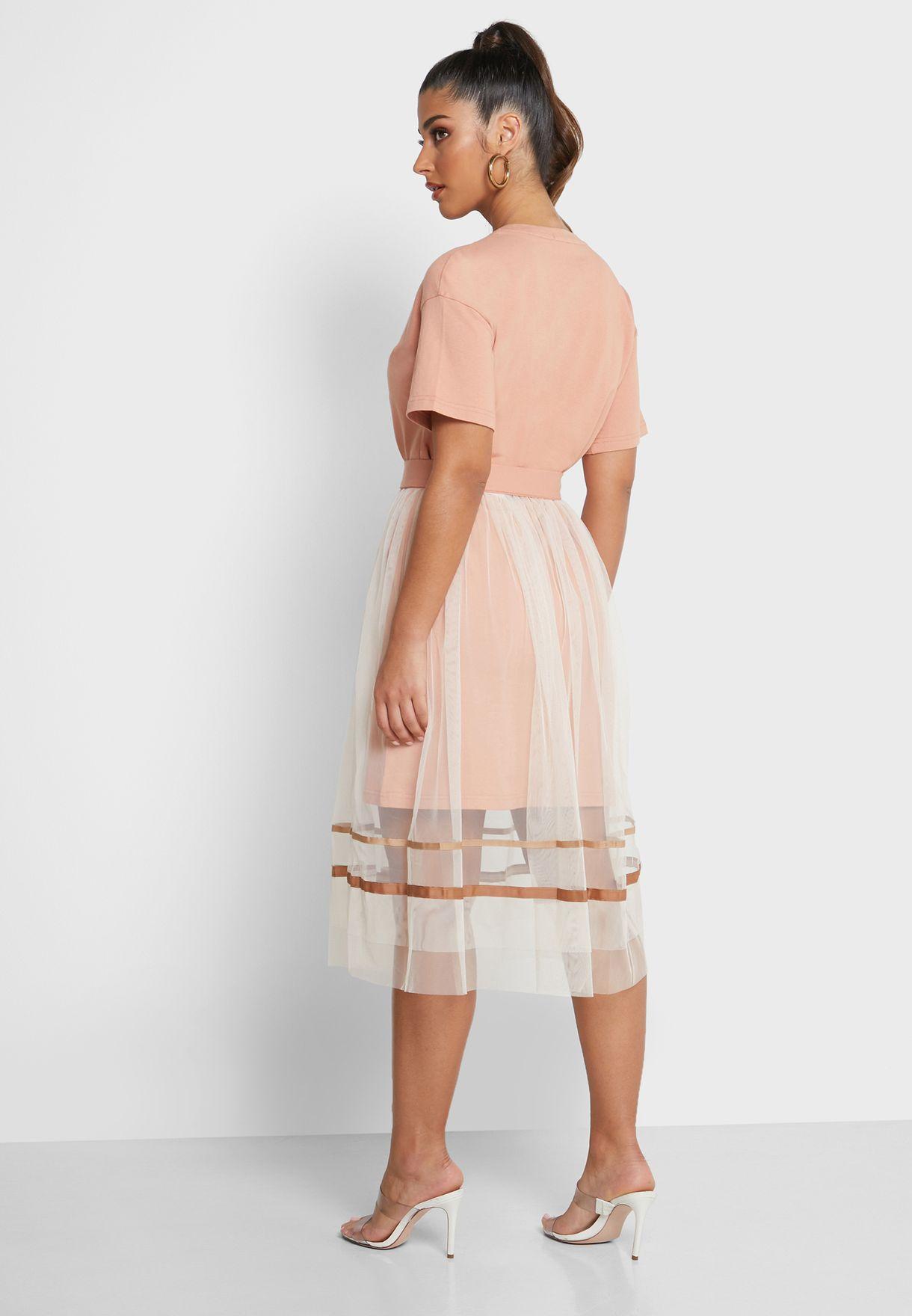 Mesh Skirt & T-Shirt Dress
