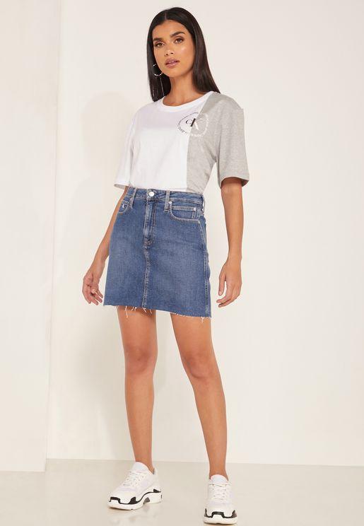 CK One High Rise Denim Skirt