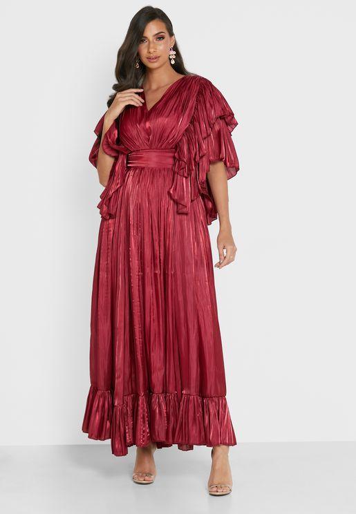 Pleated Ruffle Detail Dress