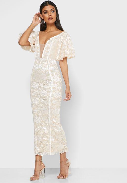 Plunge Illusion Off Shoulder Lace Dress