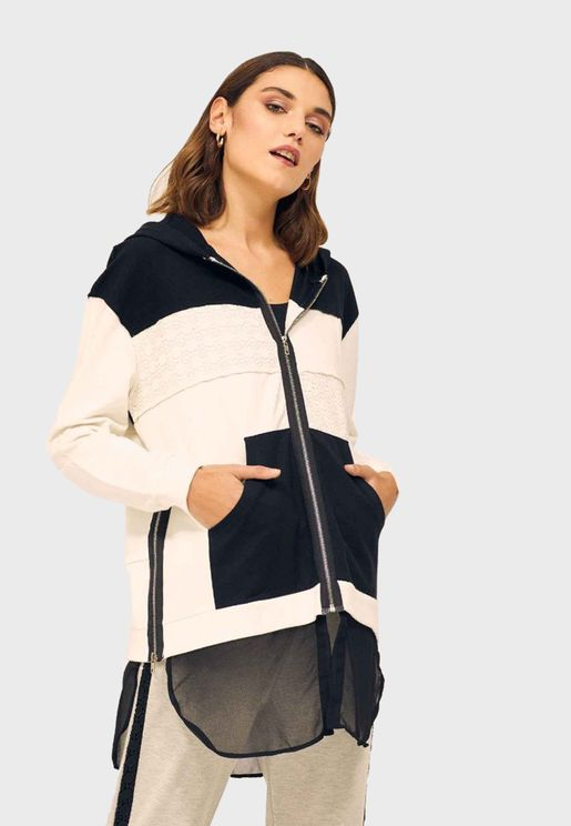 Colorblock Zip Through Hoodie