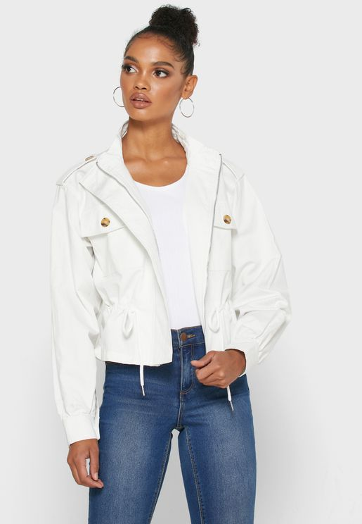 Button Detail Drawstring Jacket