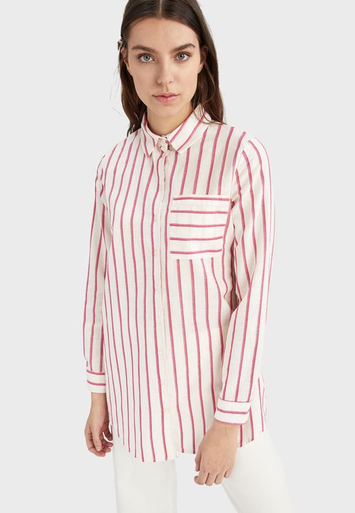 Striped Collar Neck Long Sleeve Tunic