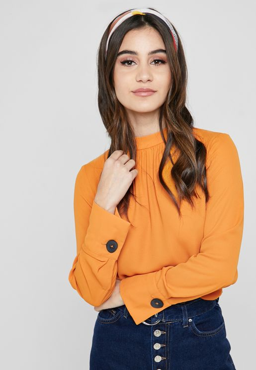 Button Sleeve High Neck Top