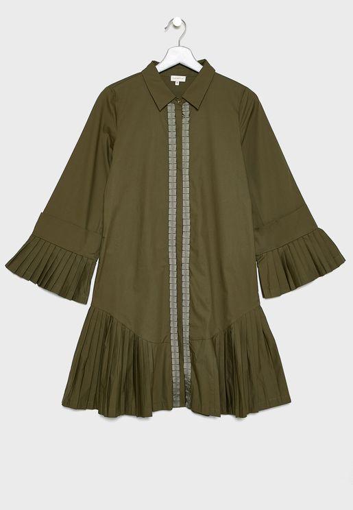 Teen Frill Hem Shirt Dress