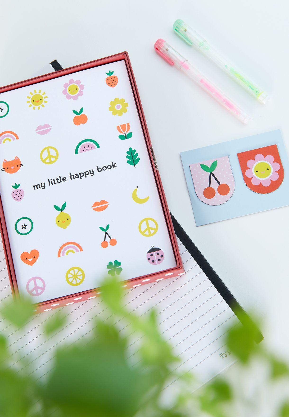 طقم هدايا ( دفتر يوميات + مؤشرات مغناطيسية +أقلام نيون)