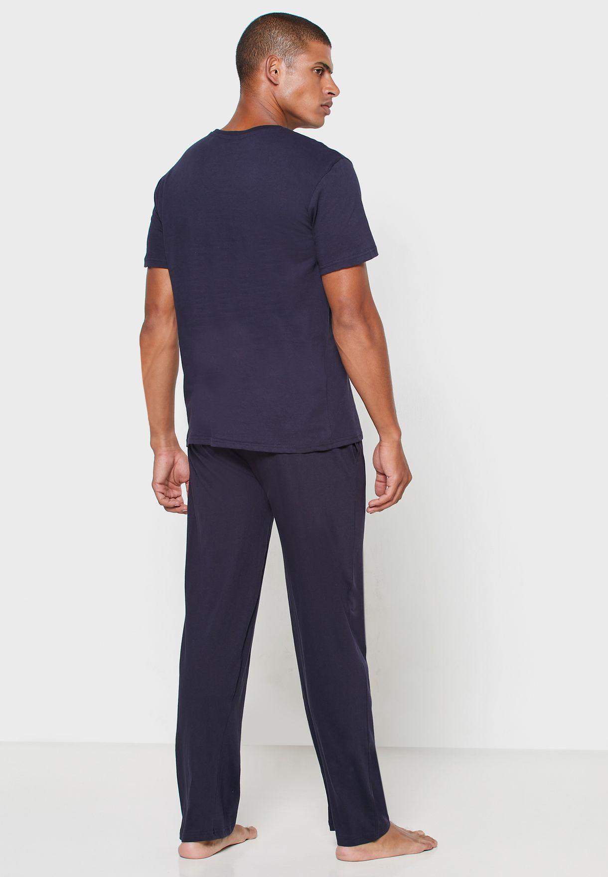 Slogan Crew Neck T Shirt  + Pants Set