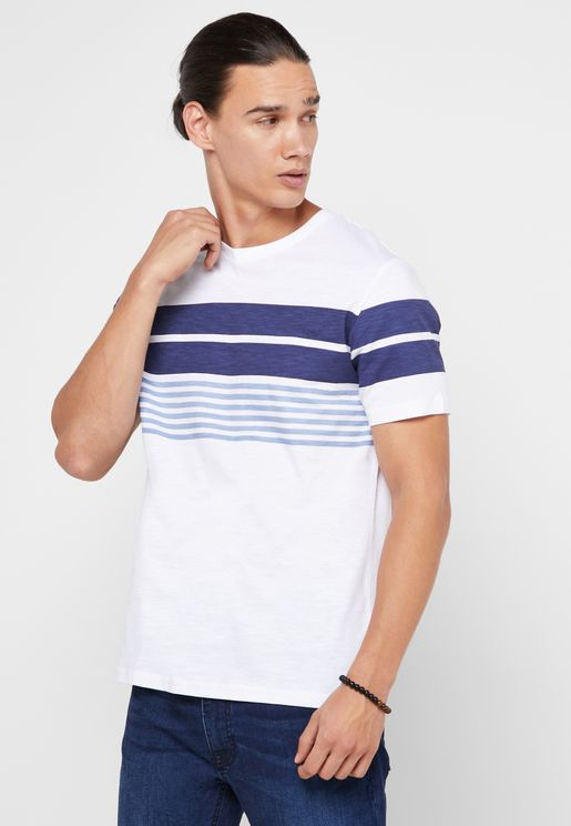 Chest Stripes Crew Neck T-Shirt