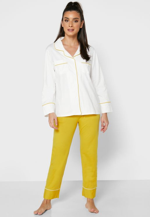 Contrast Piping Shirt Pyjama Set
