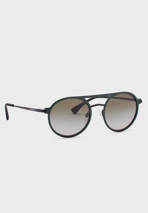 0EA2080 Top Bar Round Sunglasses