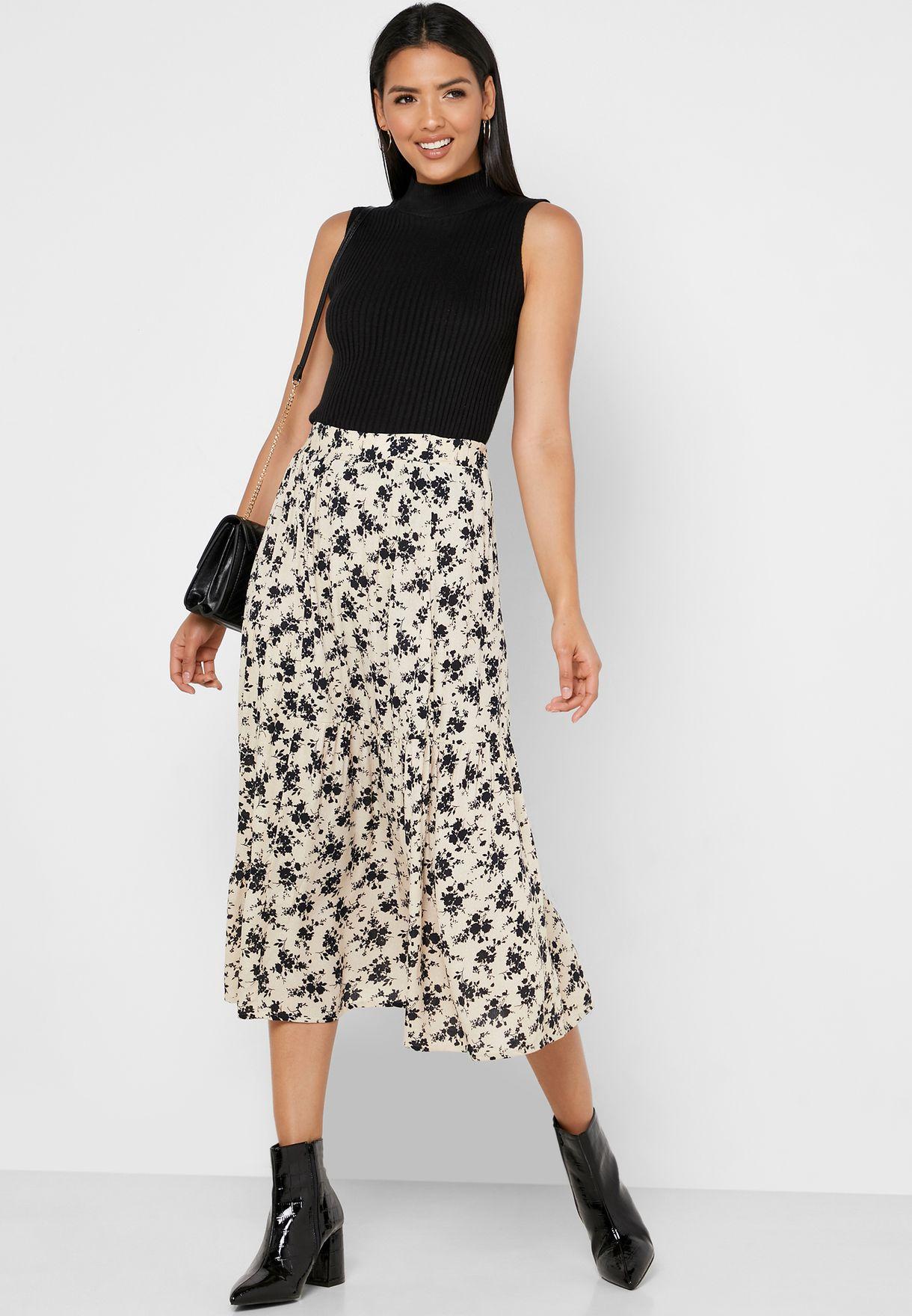 High Waist Floral Print Skirt