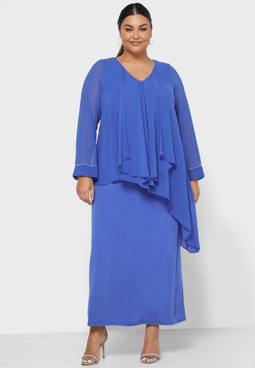 Sheer Sleeve Overlay Dress