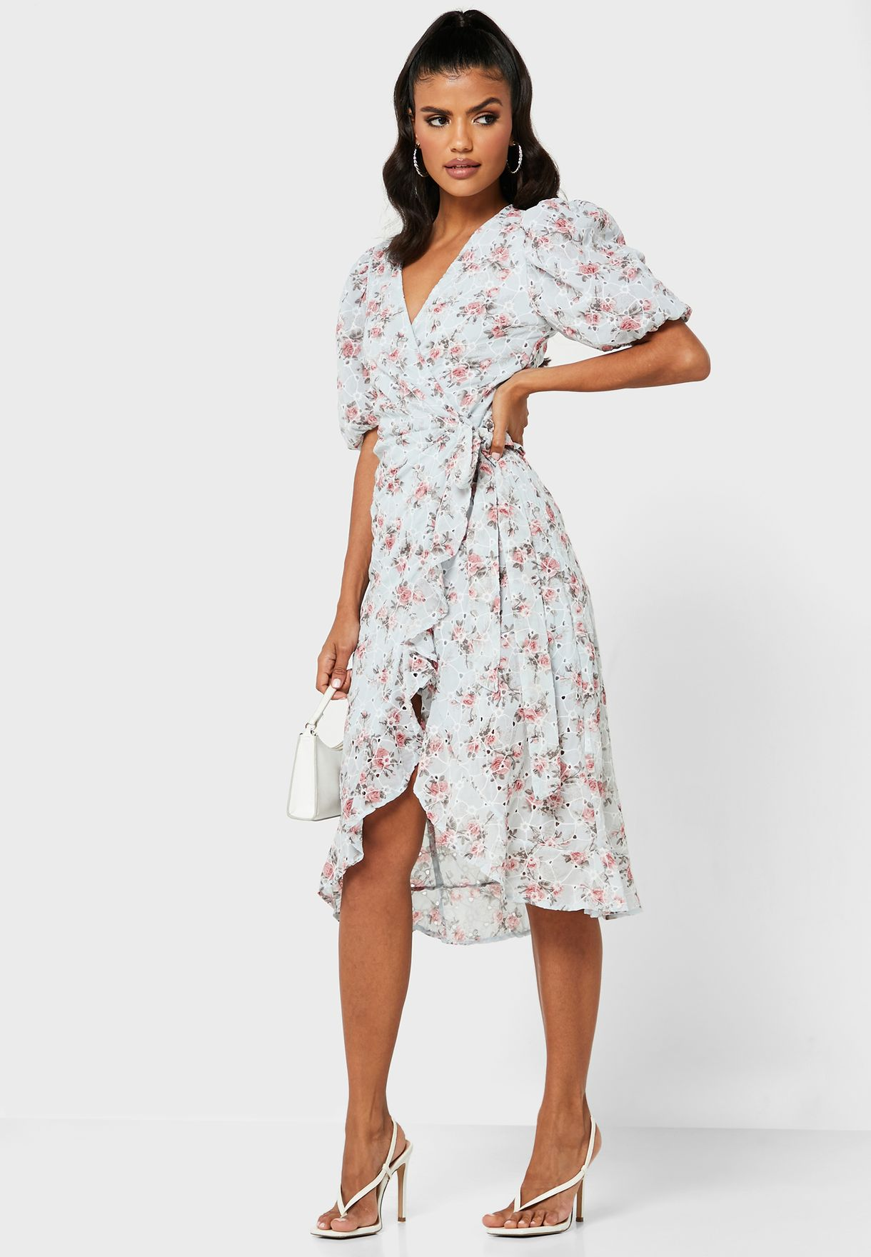 Floral Broderie Wrap Front Dress