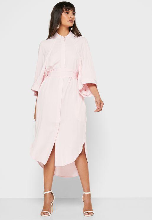Raglan Sleeve Shirt Dress