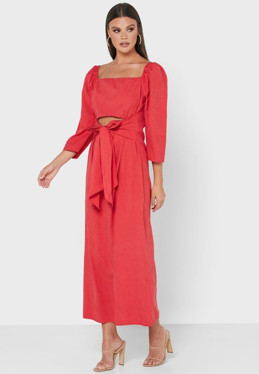 Detailed Sleeve Tie Front Midi Dress