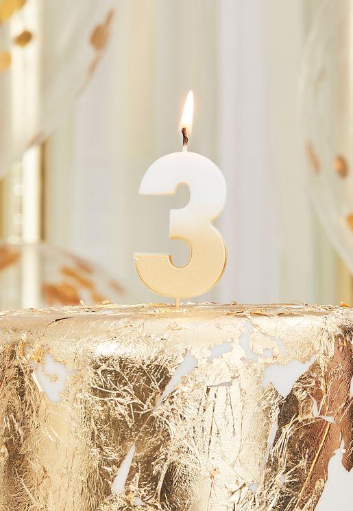 شمعة بلون ذهبي - رقم 3