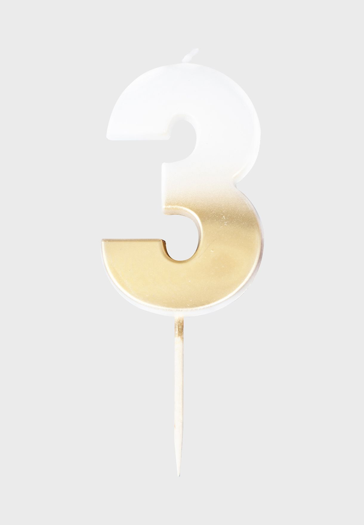 Gold Hombre Number Candle - 3