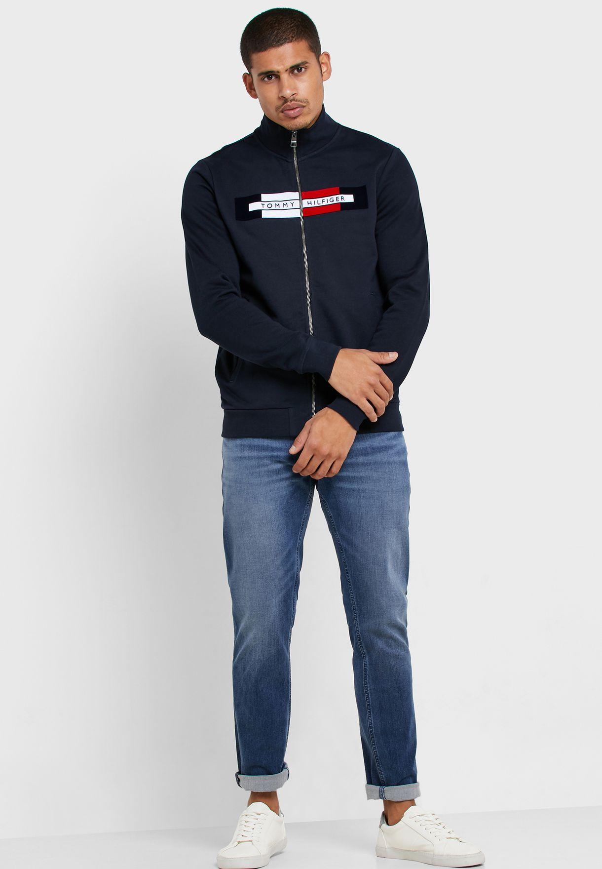 Flocked Zip Through Sweatshirt