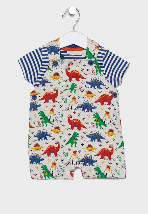Kids Dino Dungaree Set