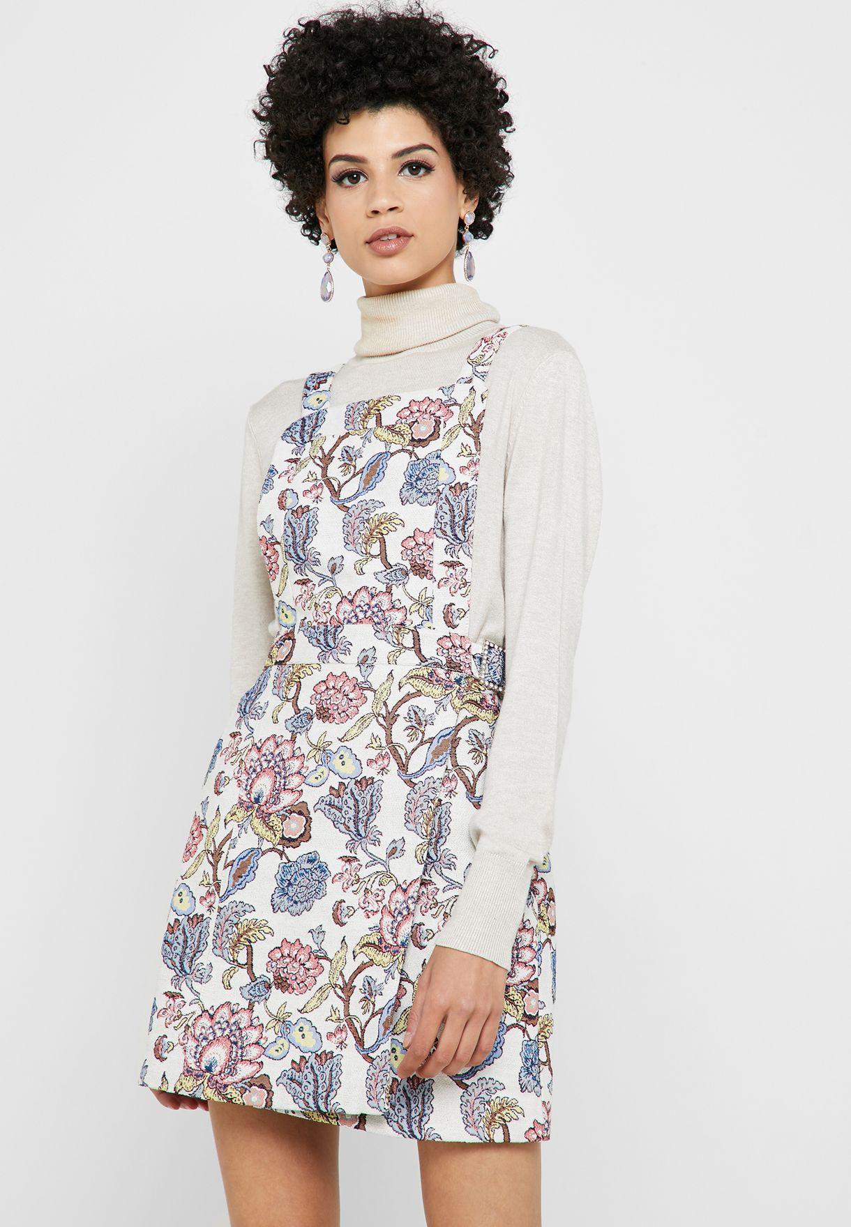 Floral Dungaree Dress
