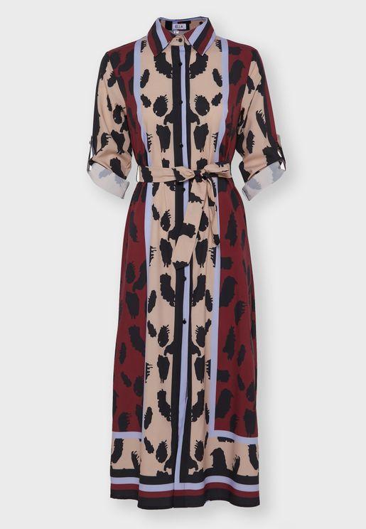 Mixed Print Self Tie Shirt Midi Dress