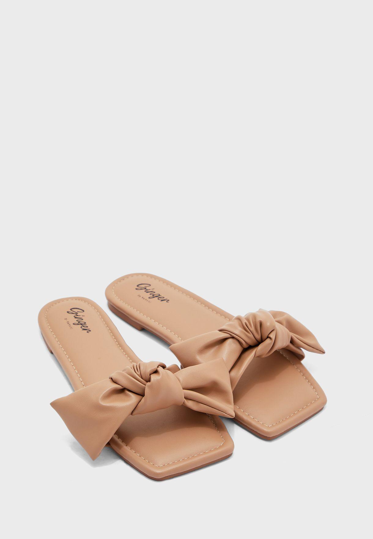 Bow Detail Square Toe Flat Sandal