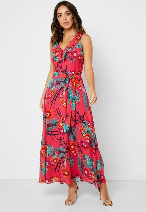 Tie Waist Tropical Print Dress