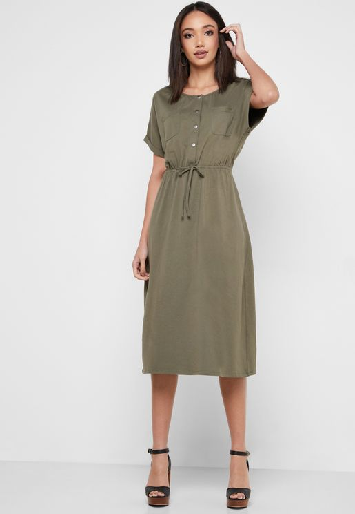 Button Down Tie Waist Dress