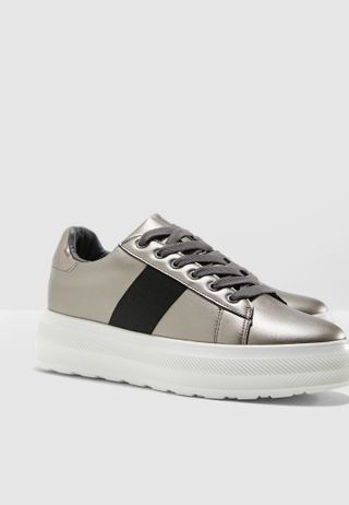 2a67bed534a Black Taping Detail Silver Sneakers