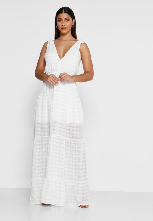 Lucietti Tie Shoulder Sheer Dress