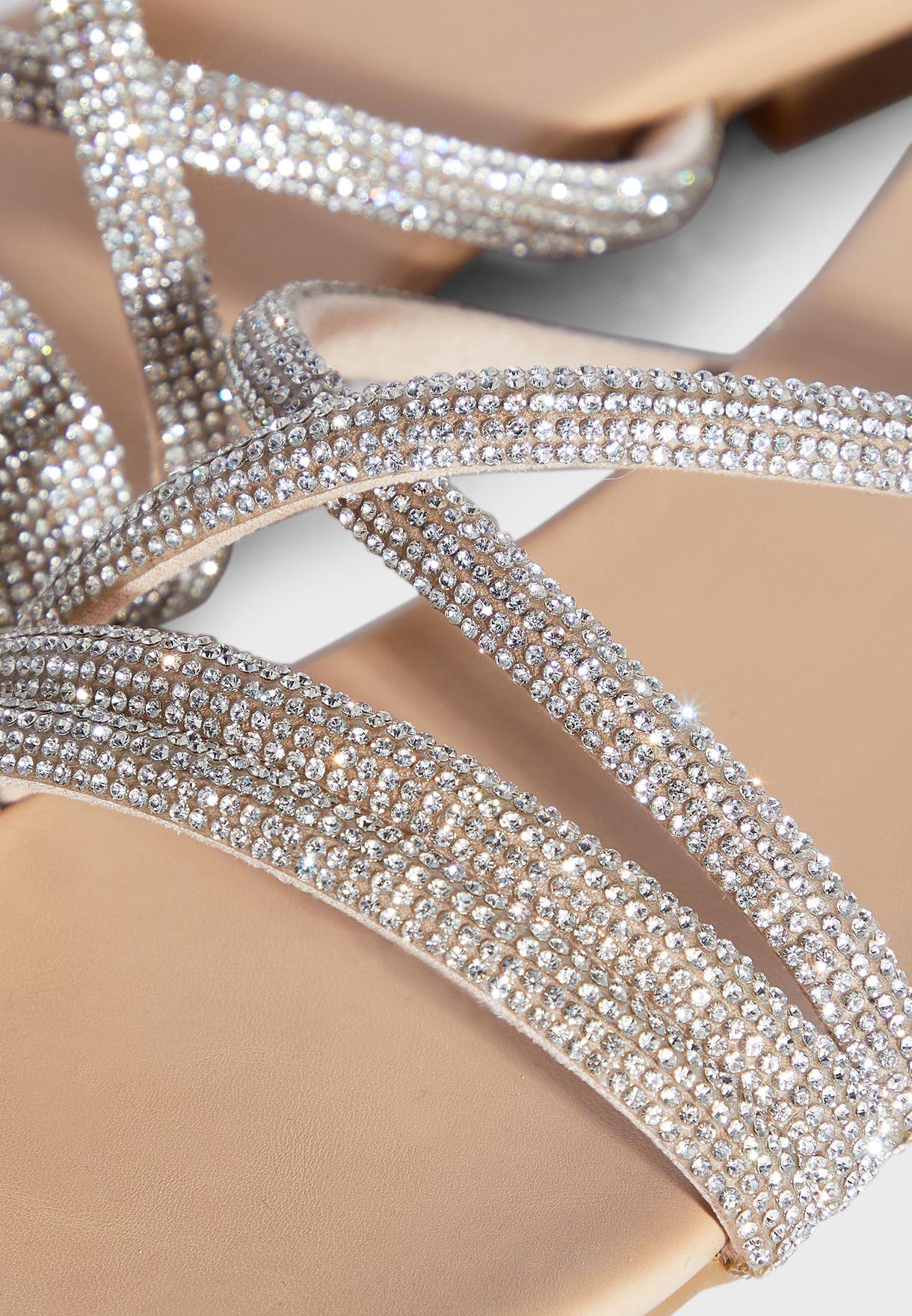 Diamante Cross Over Strap Flat Sandal