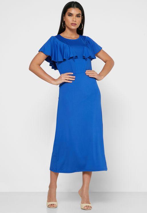 Ruffle Detail Sleeve Midi Dress