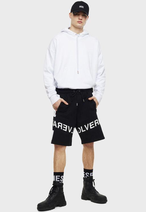 Drawstring Slogan Shorts