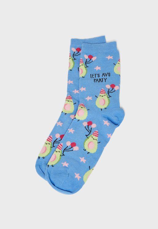 Let'S Avo Party Avocado Star Socks