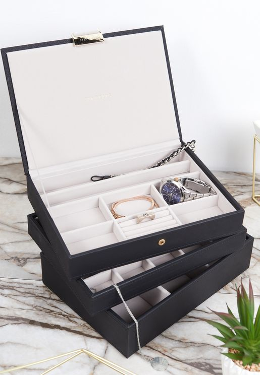Black Classic 3 Layer Jewellery Box