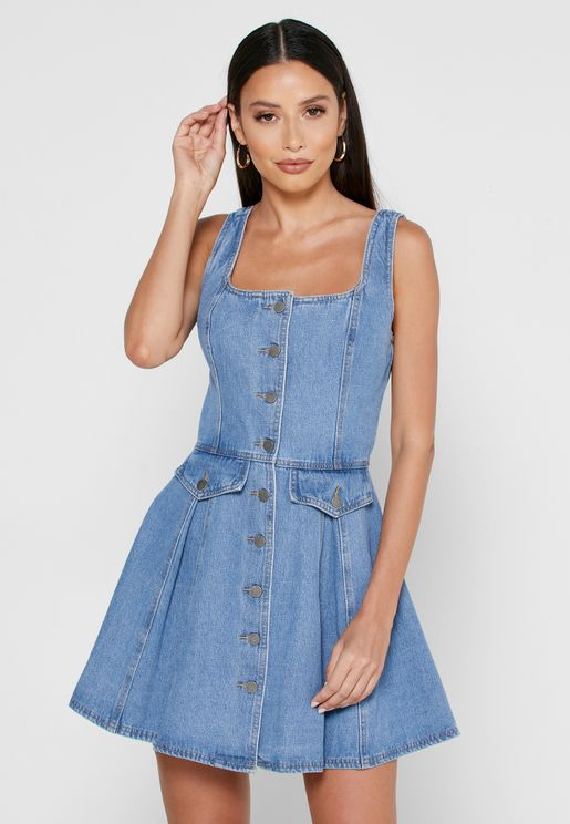 Peripheral Denim Skater Dress