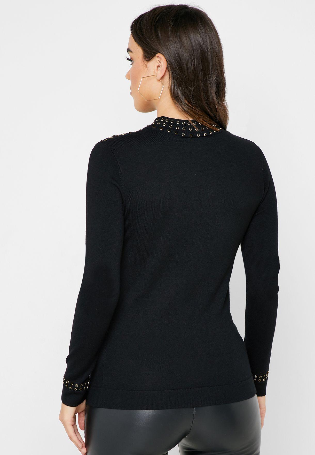 High Neck Stud Detail Sweater
