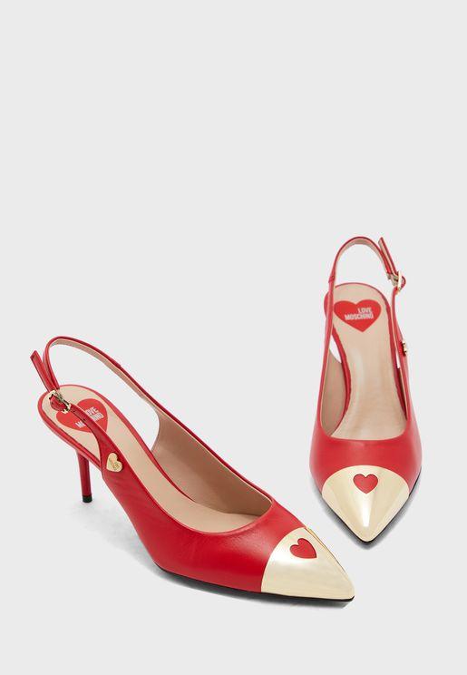 Heart Detail Mule Pump - Rosso
