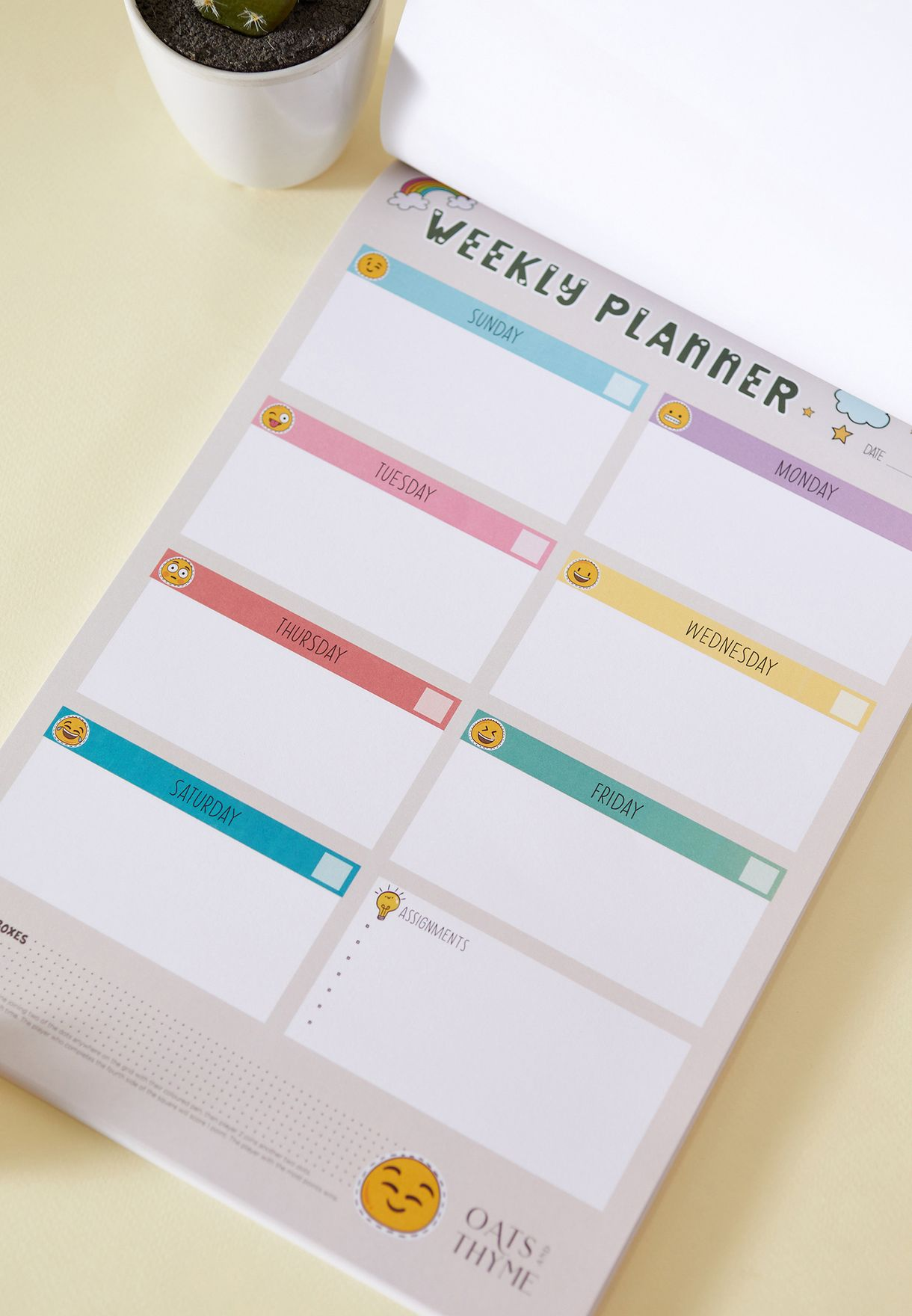 A4 Weekly English Planner
