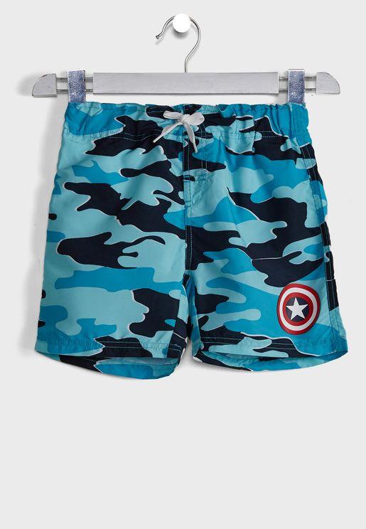 Kids Tie Waist Swim Shorts