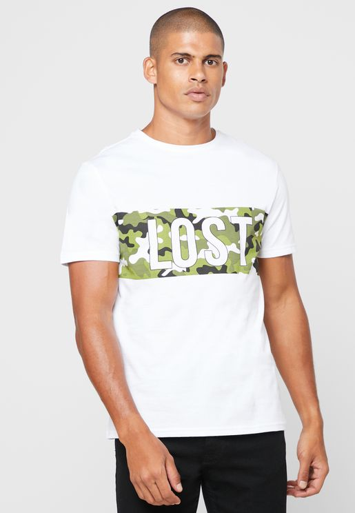 Slogan Camo Crew Neck T Shirt