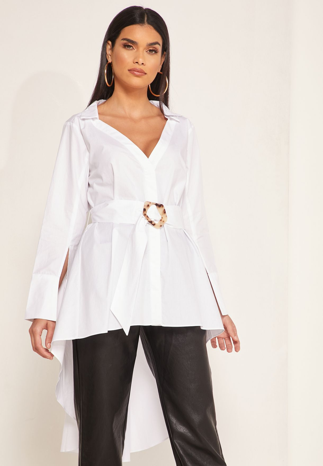 Lorine Belted High Low Top