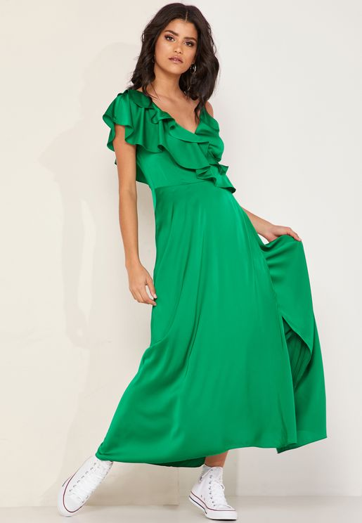 Hally One Shoulder Ruffle Satin Maxi Dress