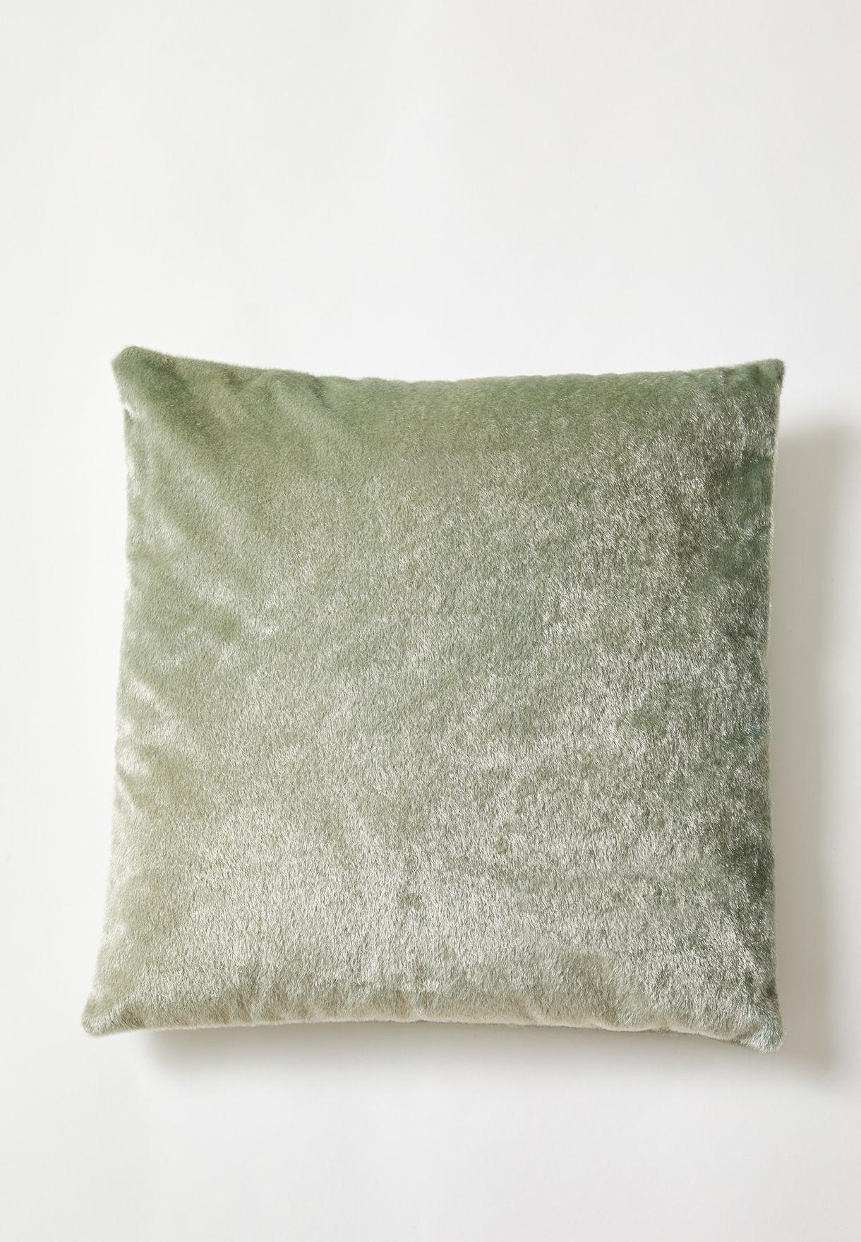 Green Faux Pony Fur Cushion With Insert 45x45 cm
