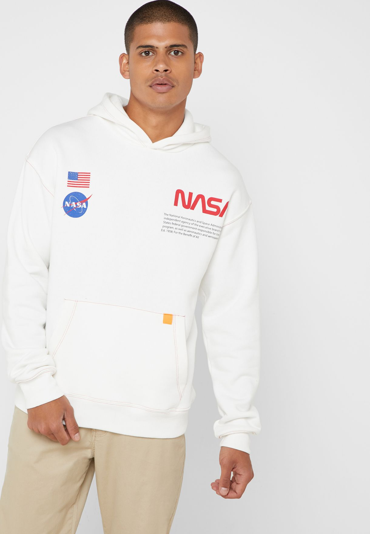 ee3fece5e5 Shop Forever 21 white NASA Graphic Hoodie 324147 for Men in UAE ...